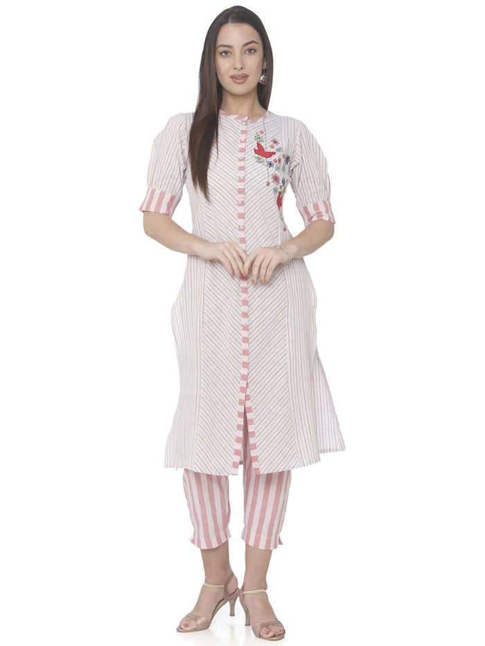 Casual White Embroidered Cotton Straight Kurti With Pant