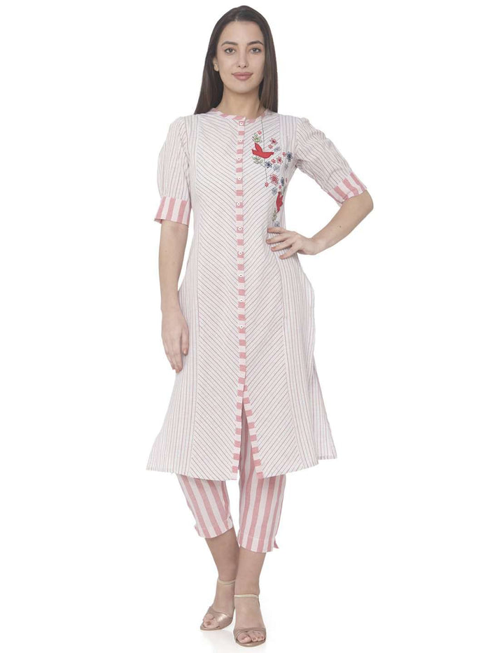 Front Side Embroidered Cotton Straight Kurti With White Pant