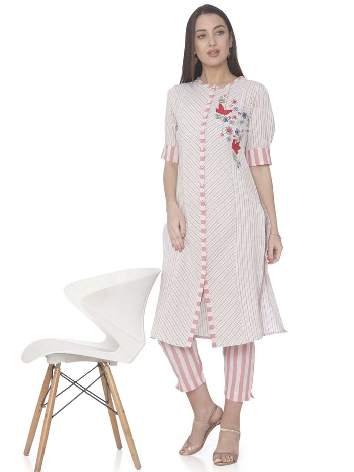 Embroidered White Cotton Straight Kurti With Pant