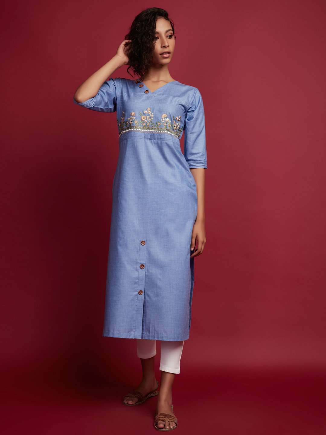 Front Side Blue Embroidered Khadi Kurti With Blue Color
