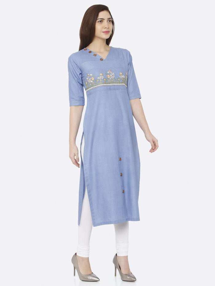 Front Side Blue Embroidered Khadi Kurti