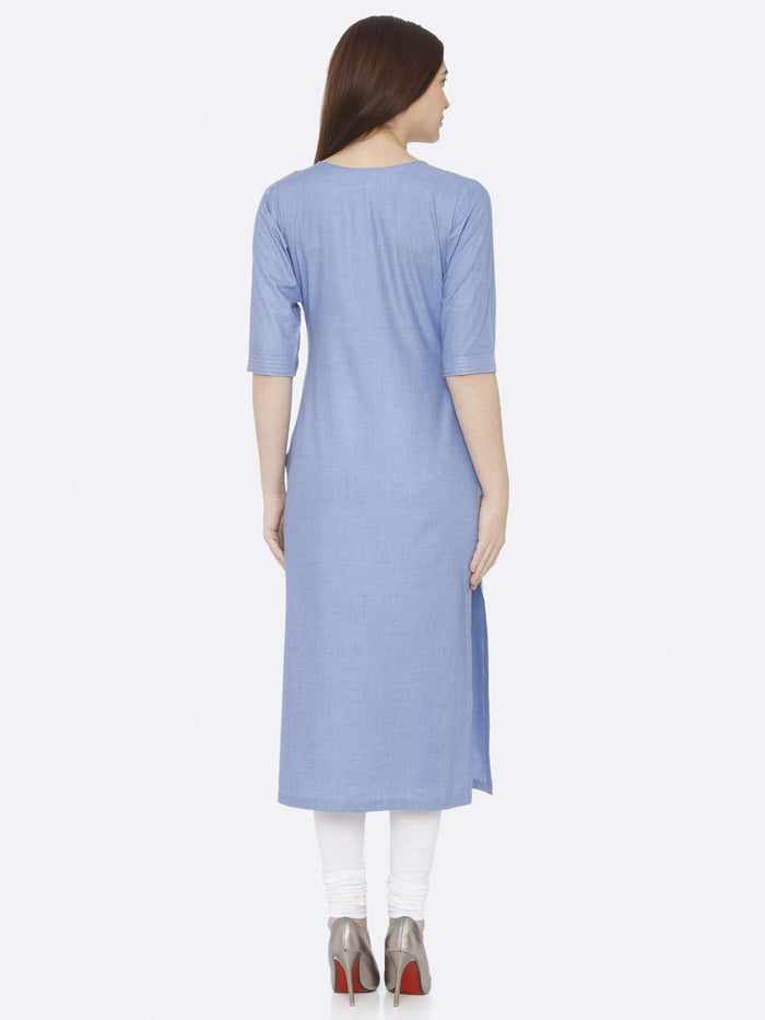 Back Side Blue Embroidered Khadi Kurti With White Palazzo Pant