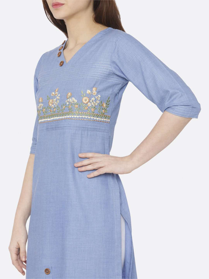 Left Side Embroidered Khadi Kurti With Palazzo Pant