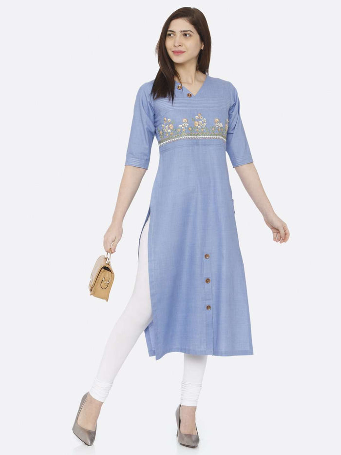 Front Side Casual Blue Embroidered Khadi Kurti