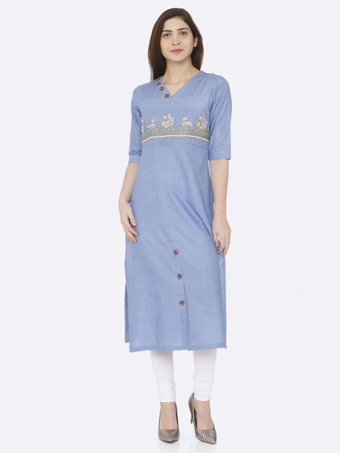 Full Front Side Blue Embroidered Khadi Kurti With White Palazzo Pant