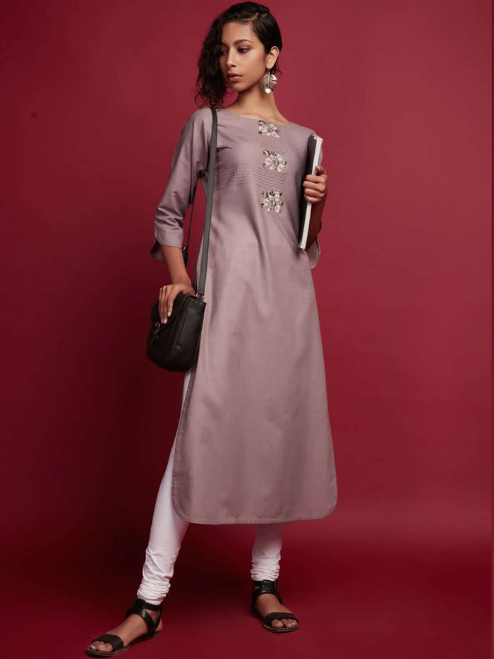 Full Front Side Embroidered Cotton Kurti With Grey Color