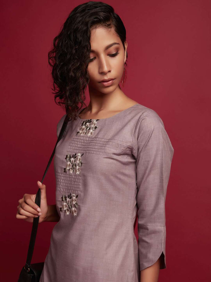 Front Side Embroidered Cotton Kurti With Grey Color