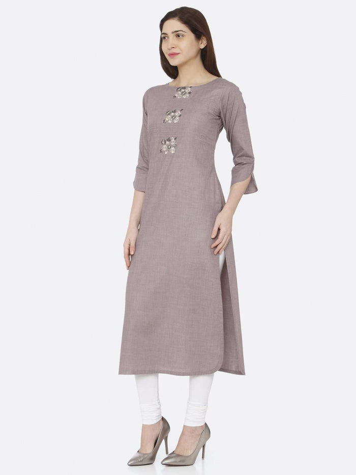 Left Side Grey Embroidered Cotton Kurti With White Palazzo Pant
