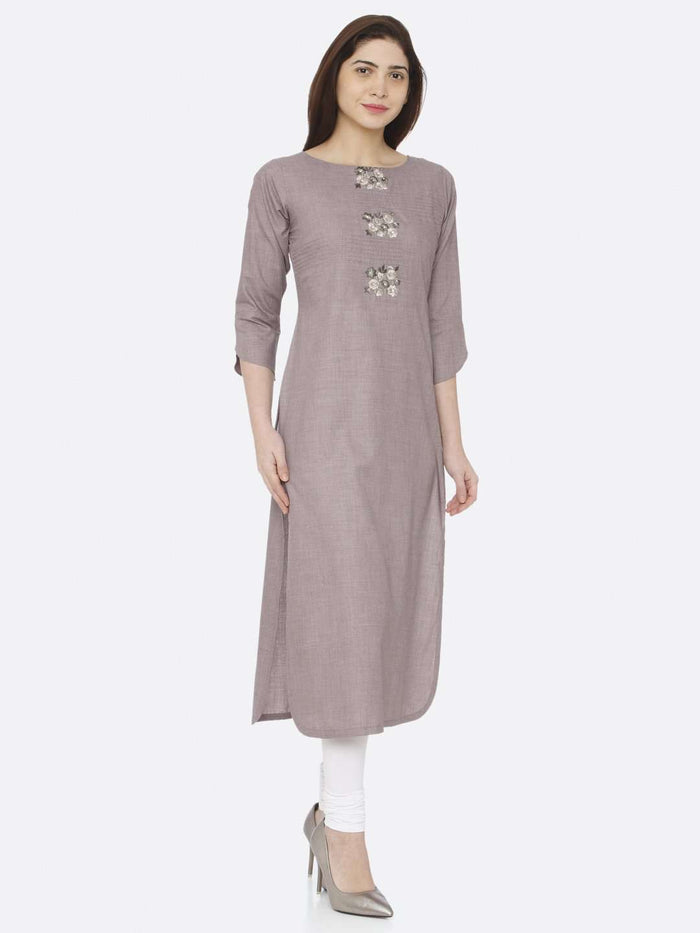 Right Side Grey Embroidered Cotton Kurti With White Palazzo Pant