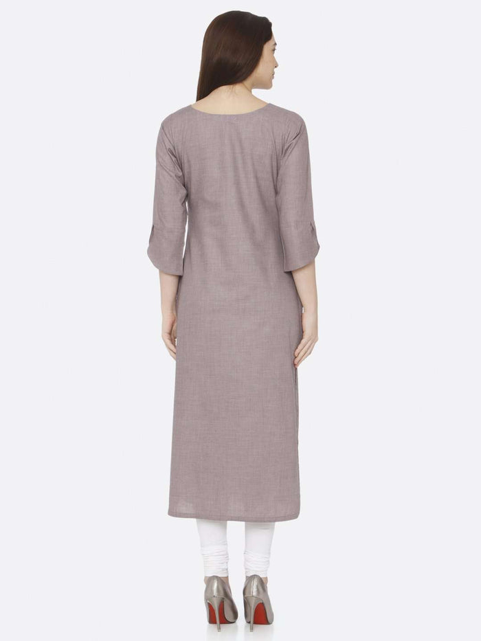 Back Side Grey Embroidered Cotton Kurti With White Palazzo Pant