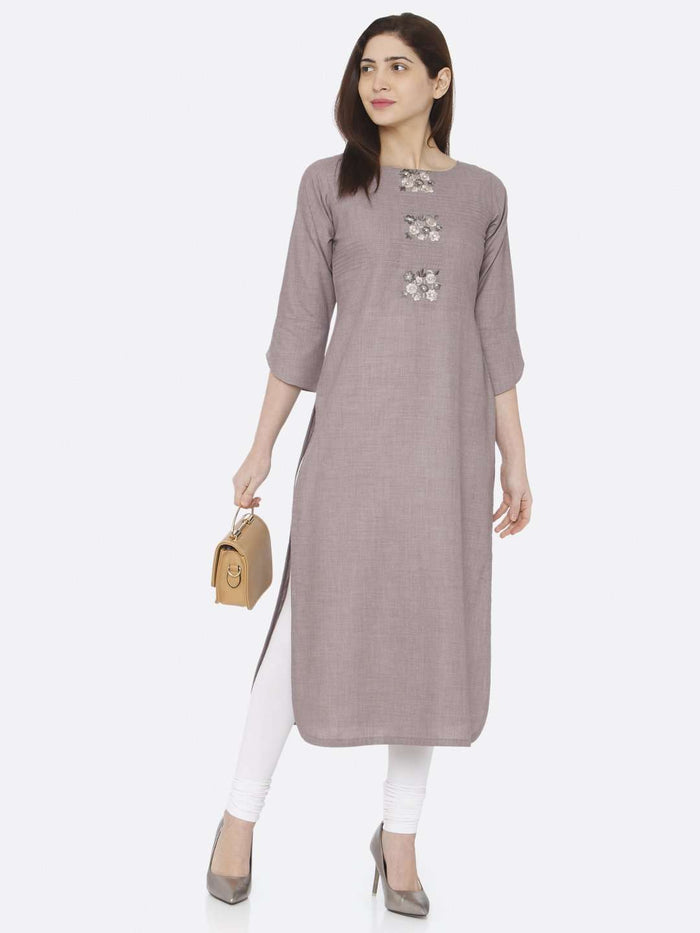 Front Side Grey Embroidered Cotton Kurti