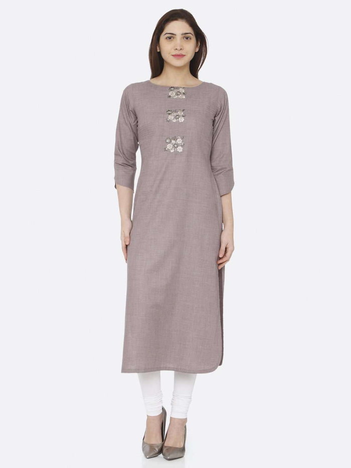 Front Side Grey Embroidered Cotton Kurti With White Palazzo Pant