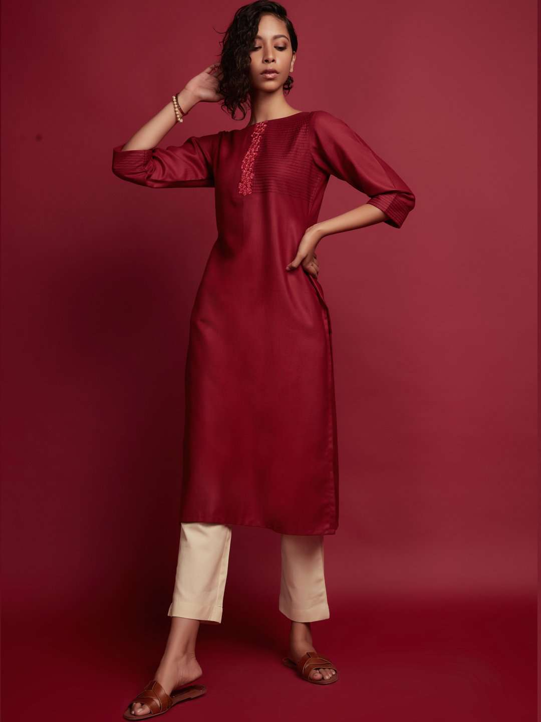 Maroon Embroidered Cotton Kurti