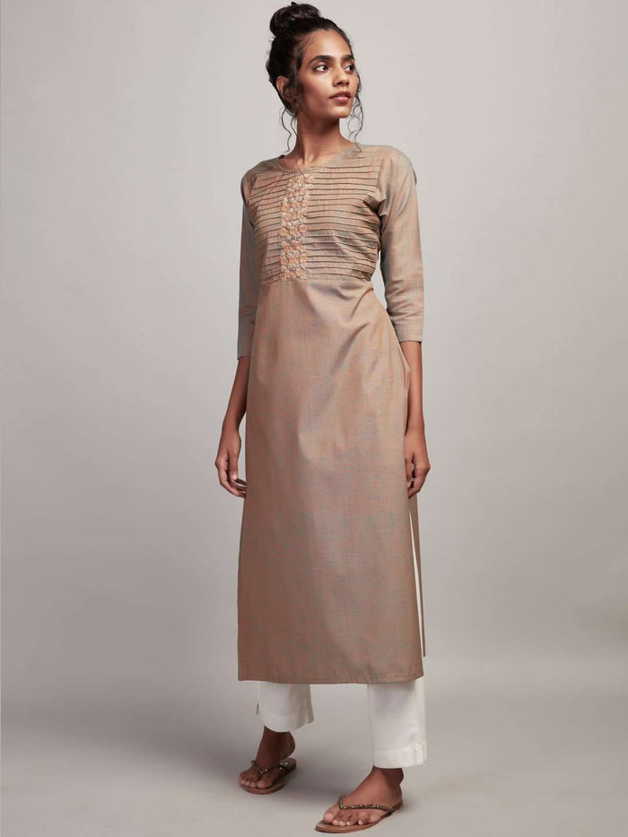 Full Front Side Light Olive Two Tone Embroidered Khadi Kurti With White Palazzo Pant