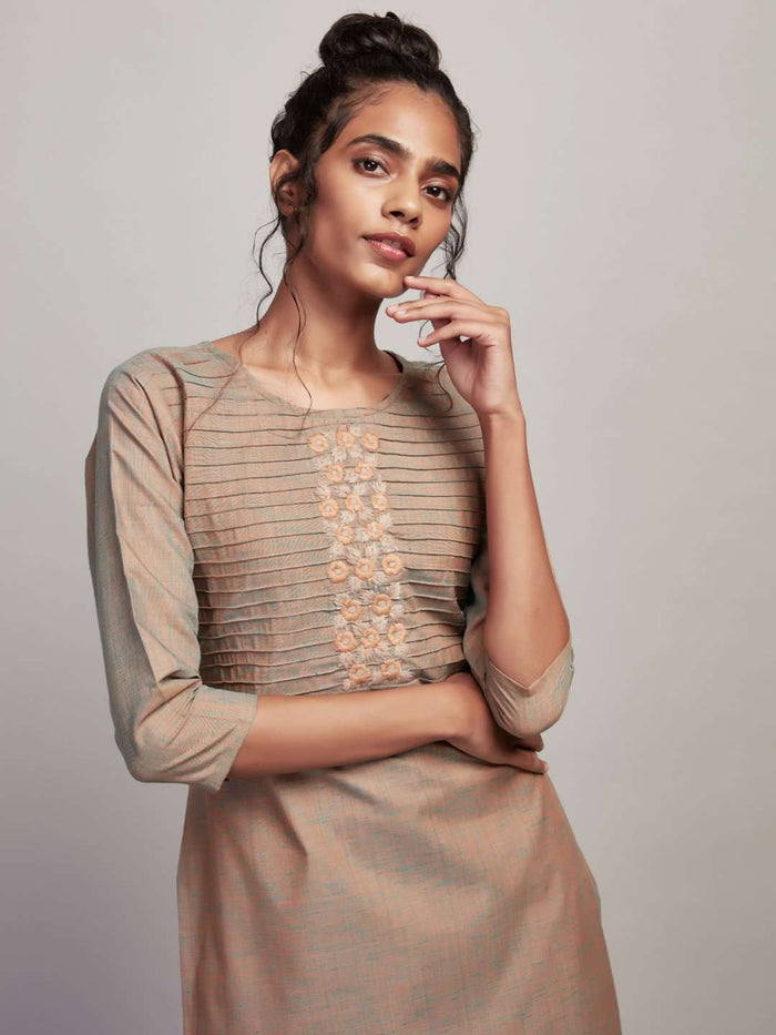 Front Side Two Tone Embroidered Cotton Kurti With Light Olive Color