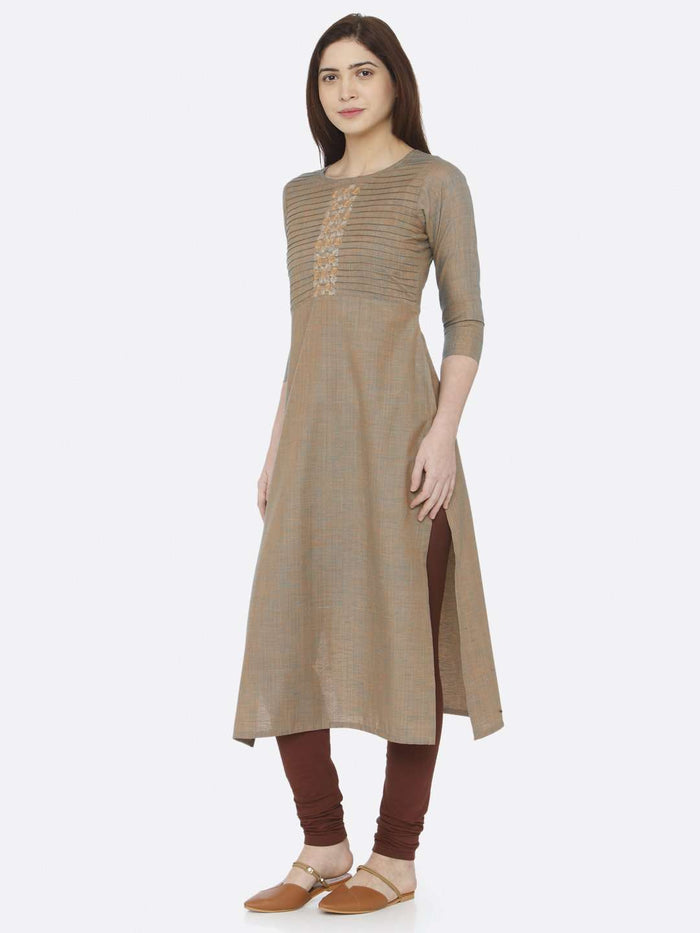 Left Side Light Olive Two Tone Embroidered Cotton Kurti With Brown Palazzo Pant