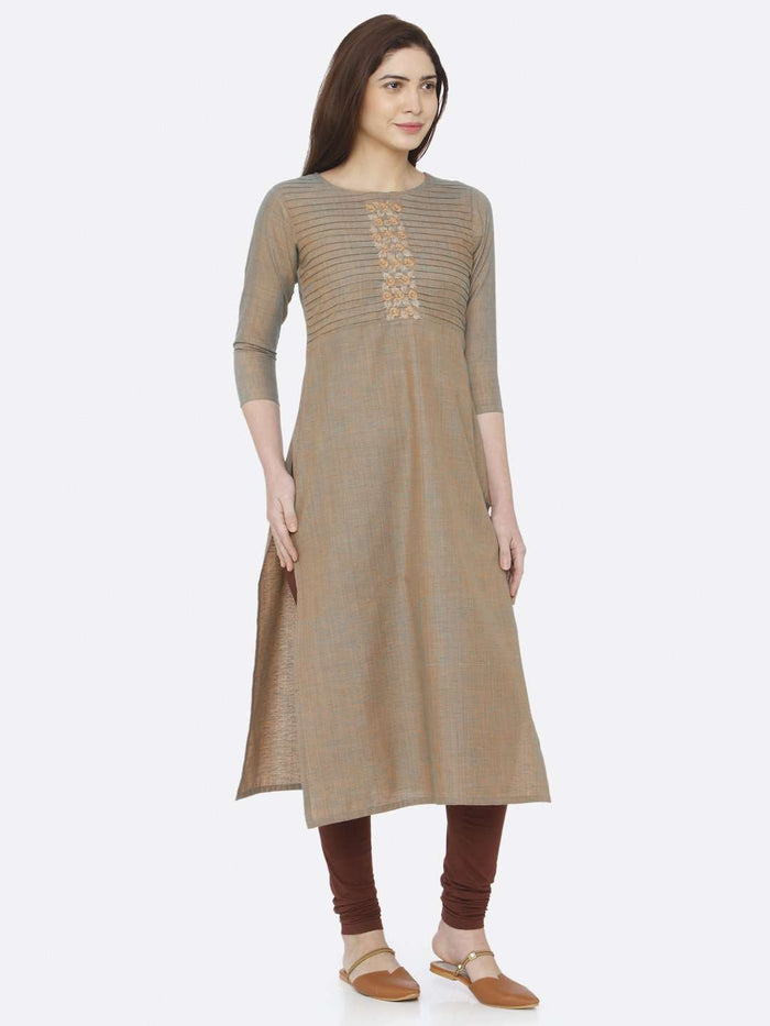 Right Side Light Olive Two Tone Embroidered Cotton Kurti With Brown Palazzo Pant