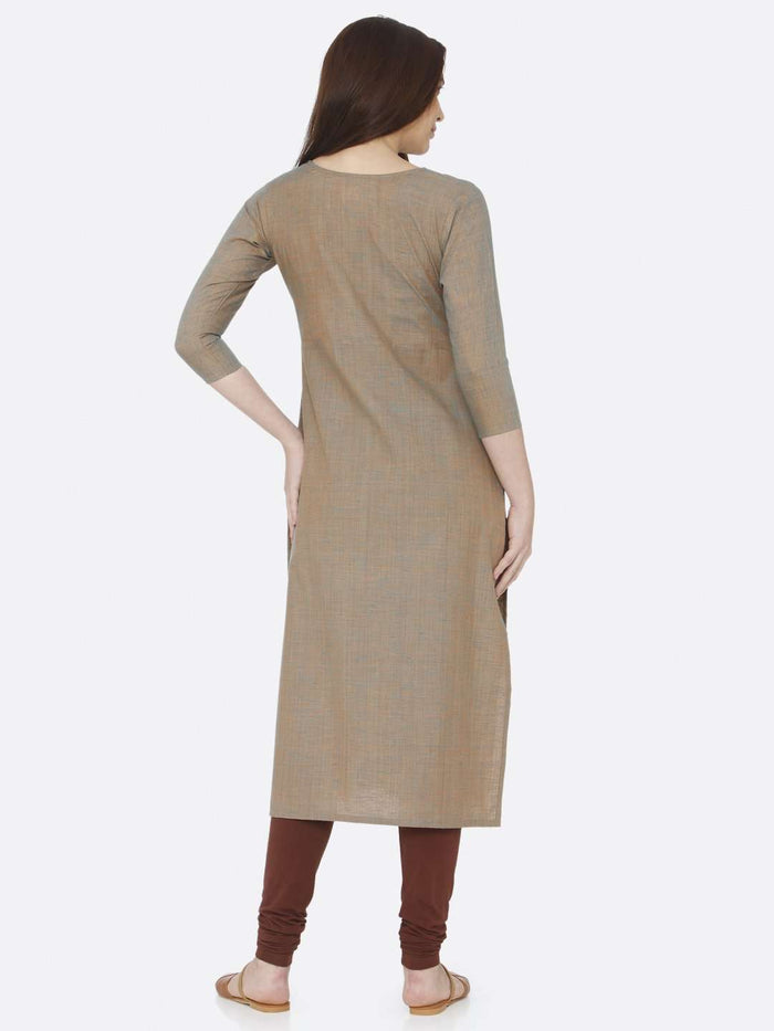 Back Side Light Olive Two Tone Embroidered Cotton Kurti With Brown Palazzo Pant