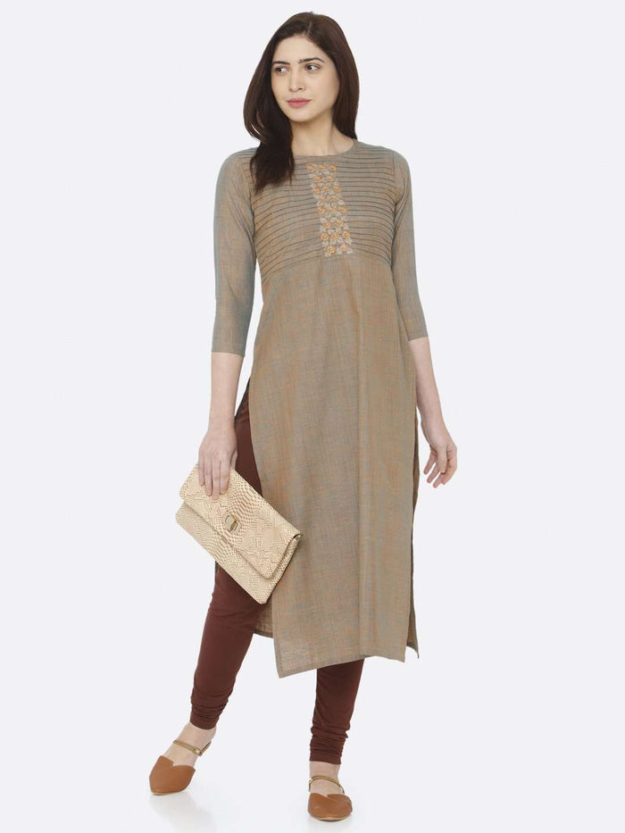 Front Side Light Olive Two Tone Embroidered Khadi Kurti