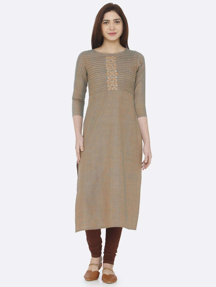 Full Front Light Olive Two Tone Embroidered Cotton Kurti With Brown Palazzo Pant