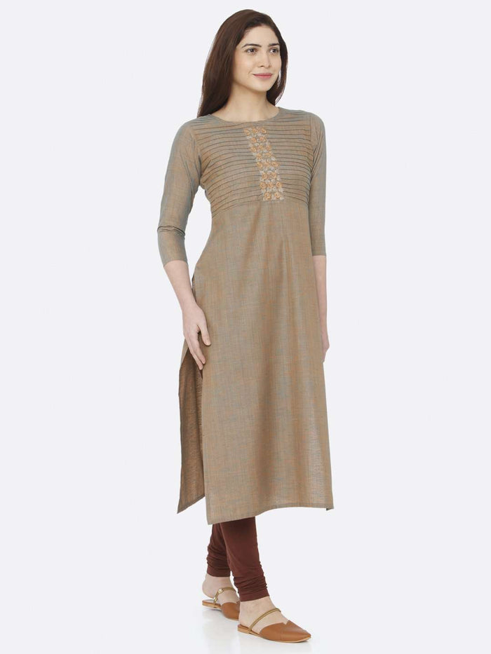 Left Side Light Olive Two Tone Embroidered Cotton Kurti