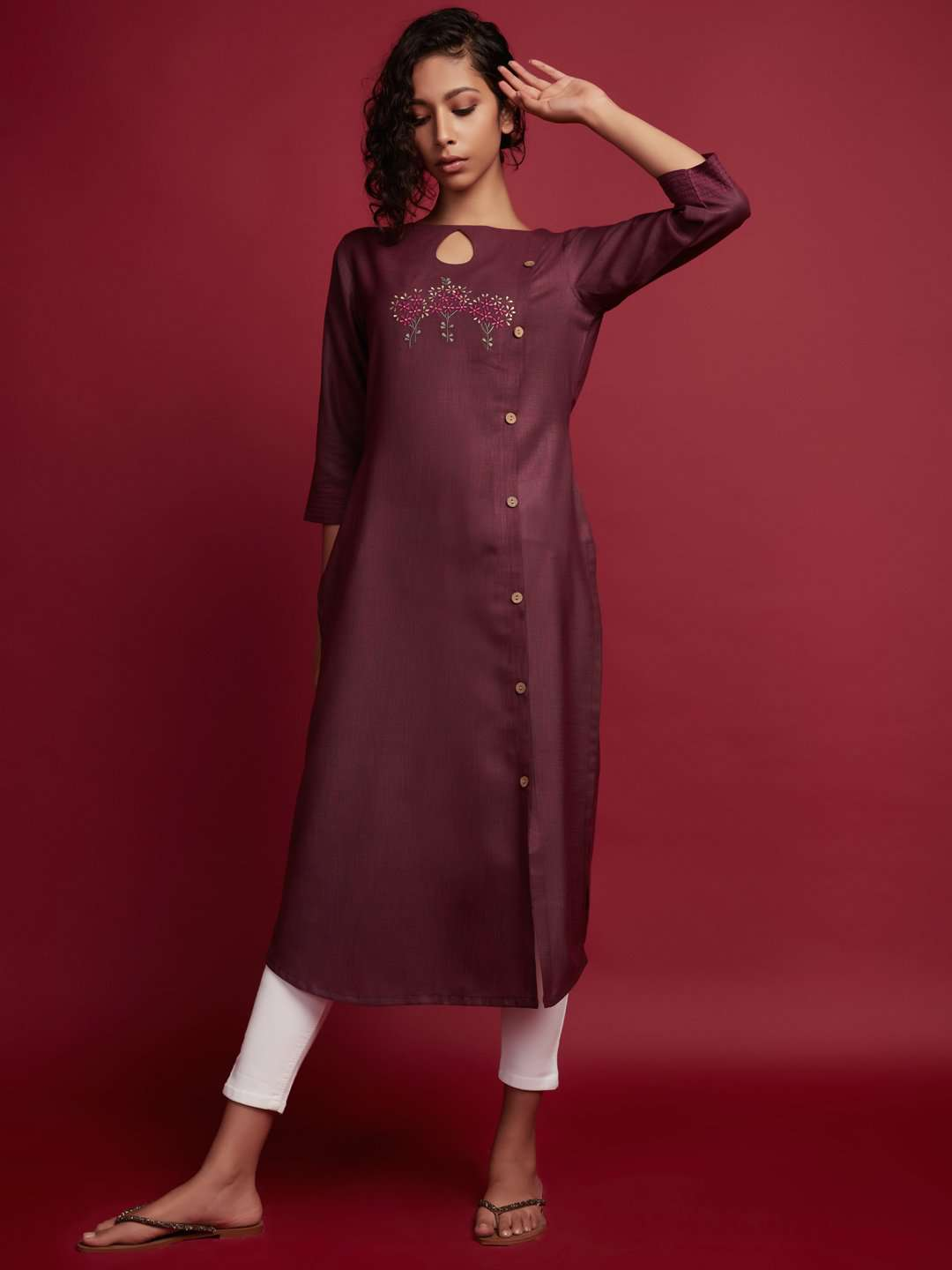 Full Front Side Wine Embroidered Cotton Kurti With White Palazzo