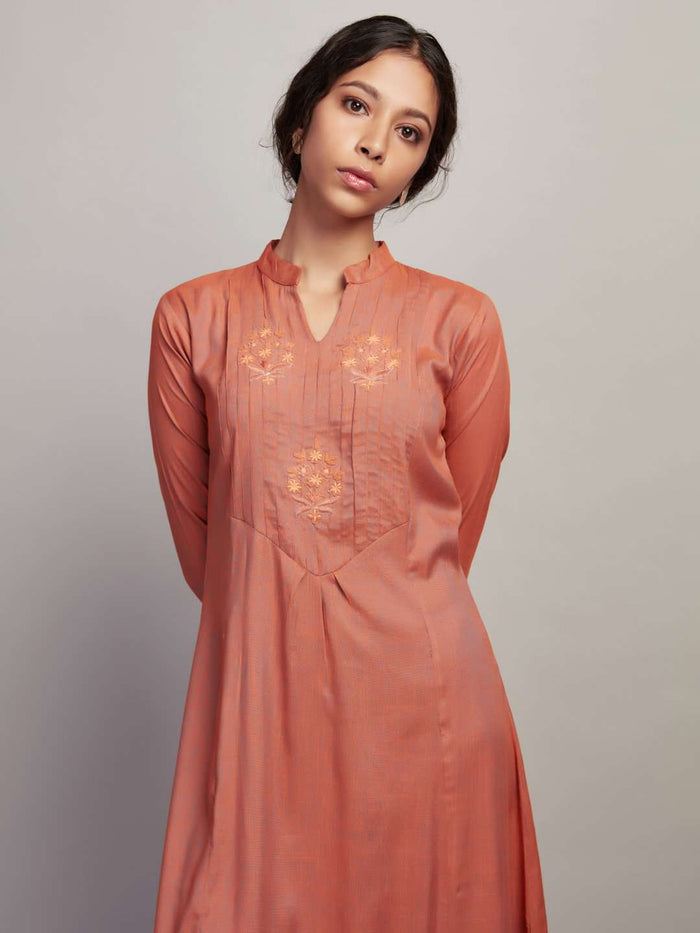 Front Side Embroidered Rayon Slub Dress With Orange Color