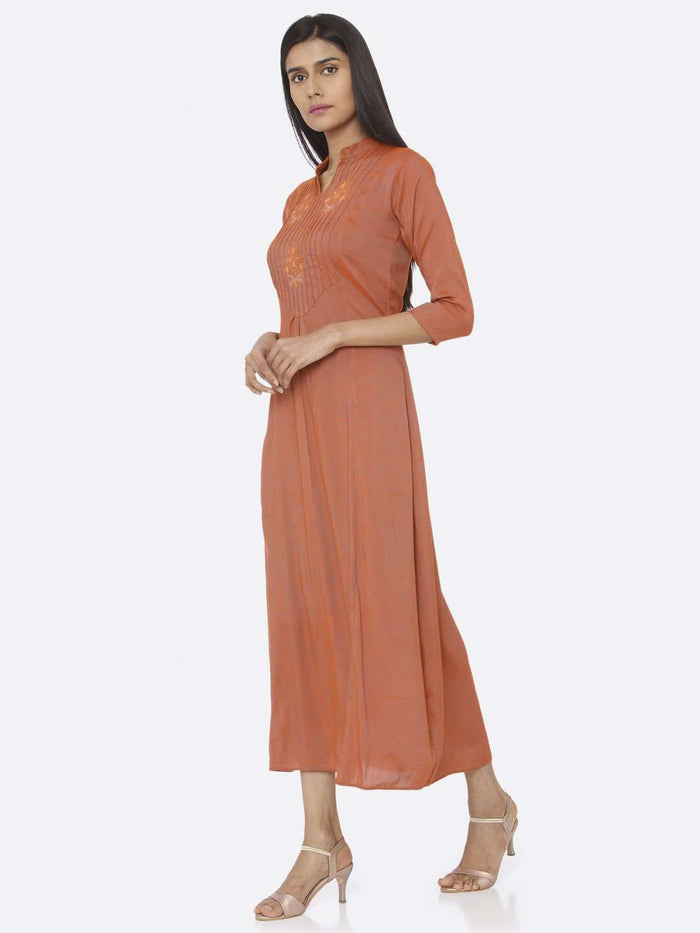 Left Side Embroidered Rayon Slub Dress With Orange Color