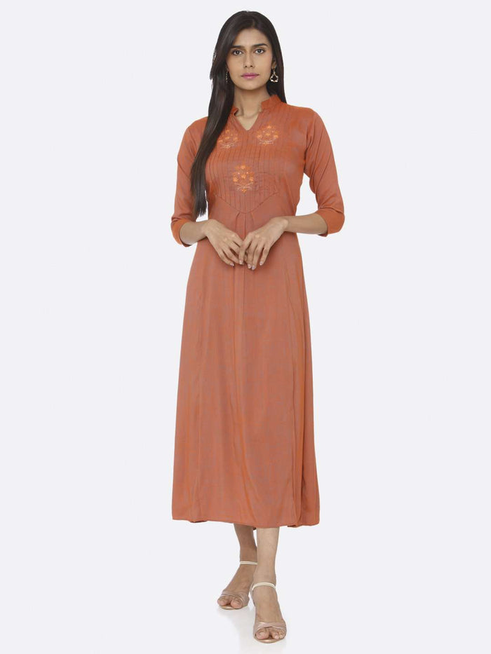 Casual Embroidered Rayon Slub Dress With Orange Color