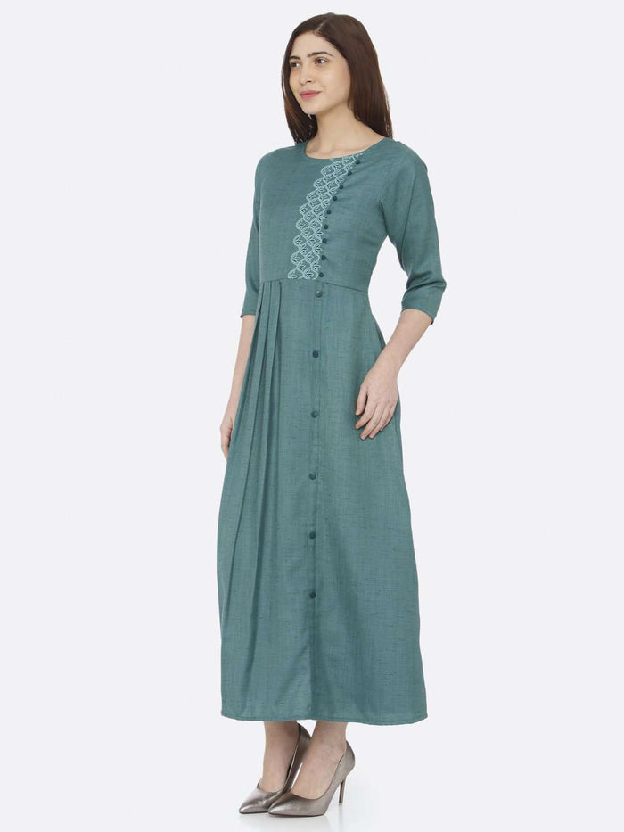 Left Side Green Embroidered Rayon Slub Dress