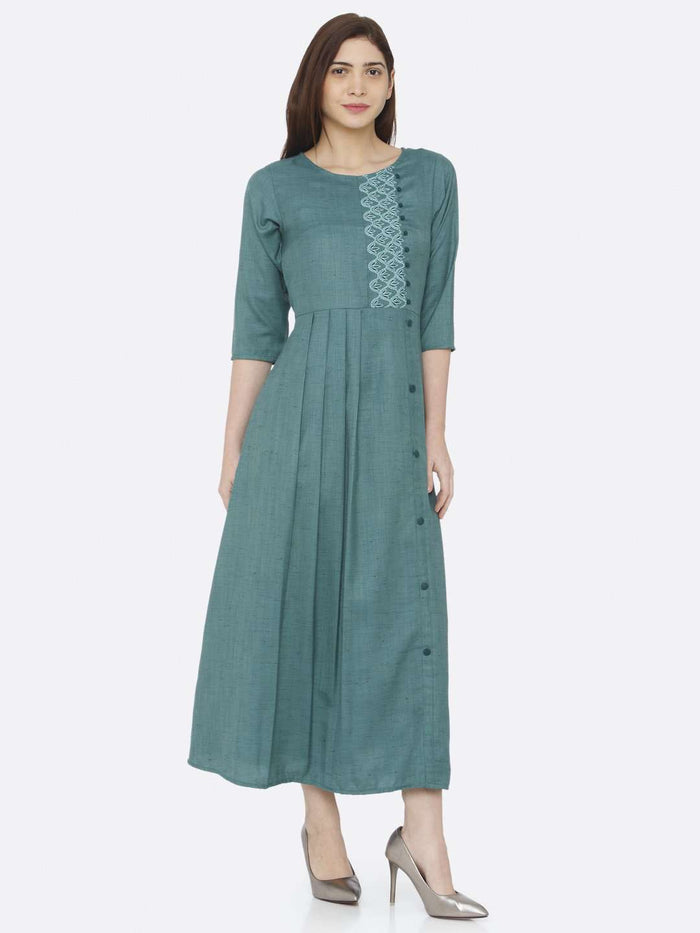 Front Side Embroidered Rayon Slub Dress