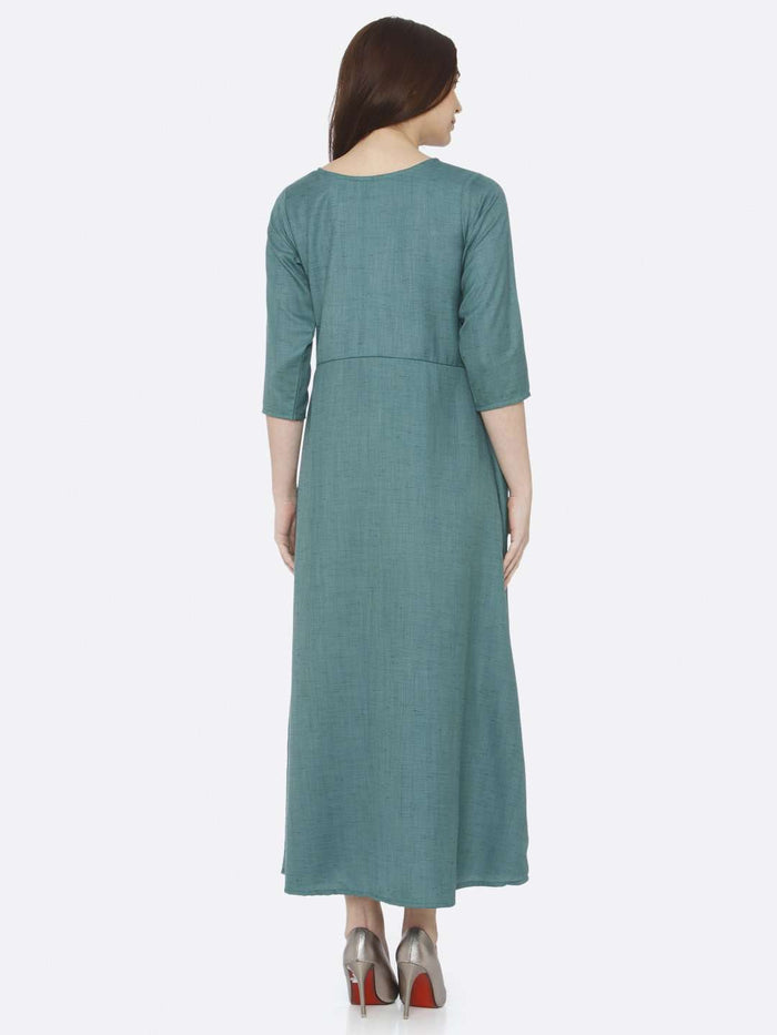 Back Side Green Embroidered Rayon Slub Dress
