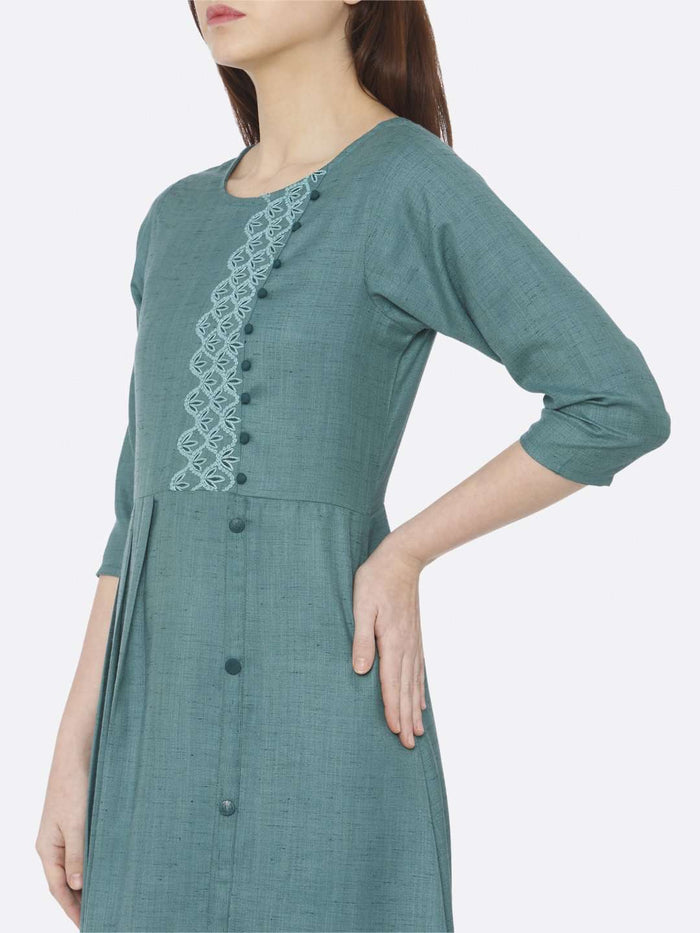 Left Side Embroidered Rayon Slub Dress With Green Color