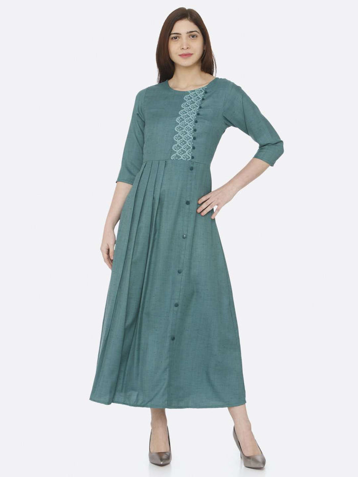 Front Side Green Embroidered Rayon Slub Dress