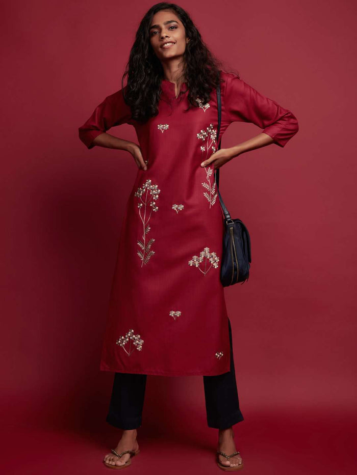 Full Red Embroidered Cotton Kurti With Black Palazzo
