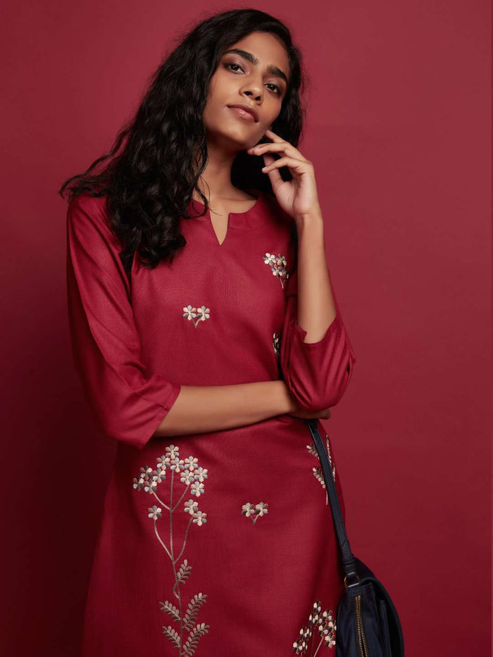 Front Side Embroidered Cotton Kurti With Red Color