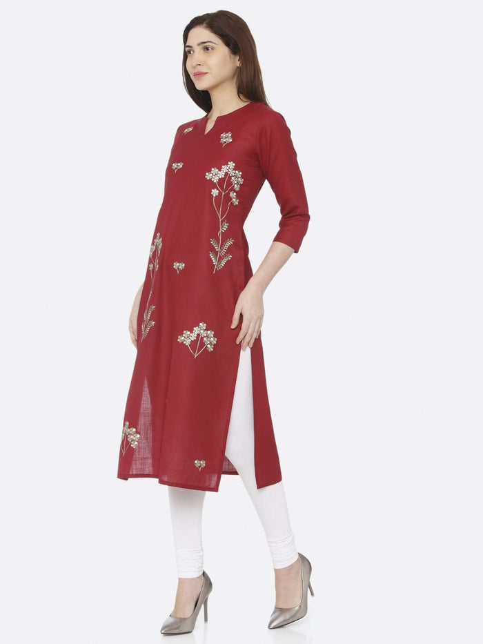 Left Side Red Embroidered Cotton Kurti With White Palazzo