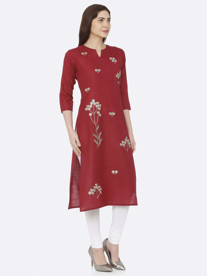 Right Side Red Embroidered Cotton Kurti With White Palazzo