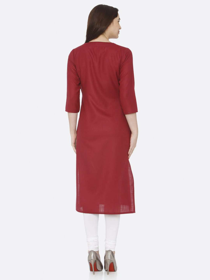 Back Side Red Embroidered Cotton Kurti With White Palazzo