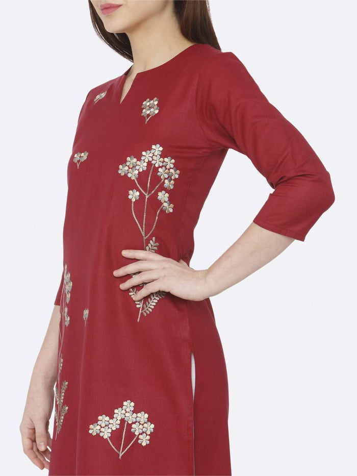 Left Side Red embroidered Cotton Kurti