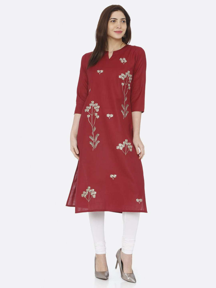 Full Front Red Embroidered Cotton Kurti