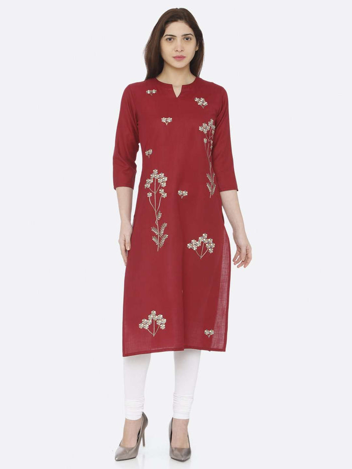 Full Front Side Red Embroidered Cotton Kurti With White Palazzo