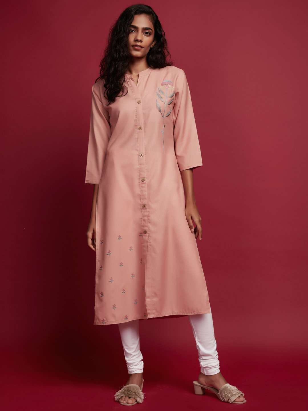 Front Side Peach Embroidered Cotton Straight Kurti With White Palazzo Pant