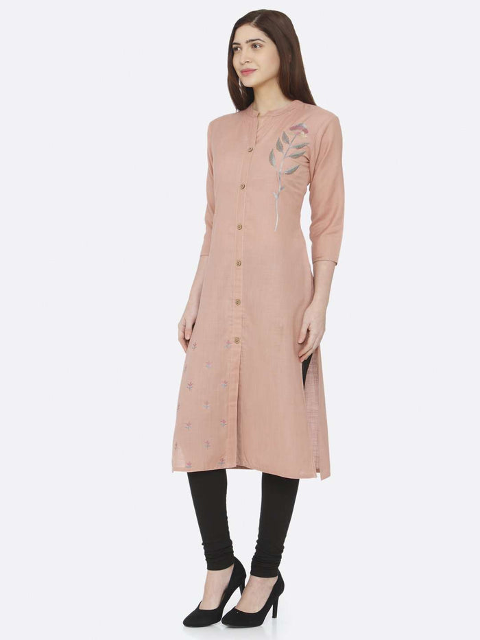 Peach Embroidered Cotton Kurti