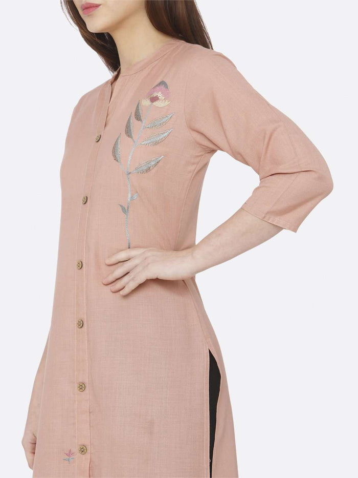 Left Side Peach Embroidered Cotton Kurti