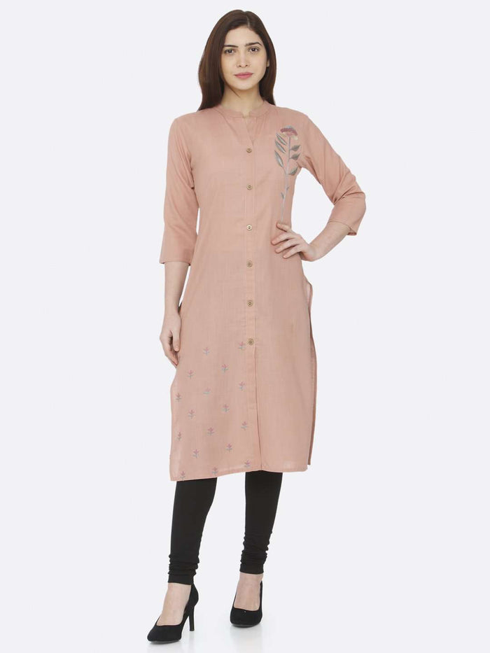 Full Front Side Peach Embroidered Cotton Kurti With Black Palazzo Pant
