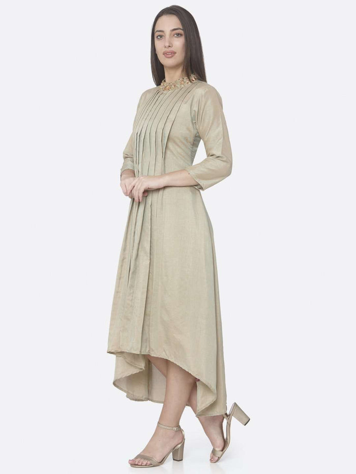 Left Side Beige Embroidered Muslin Silk A-Line Dress