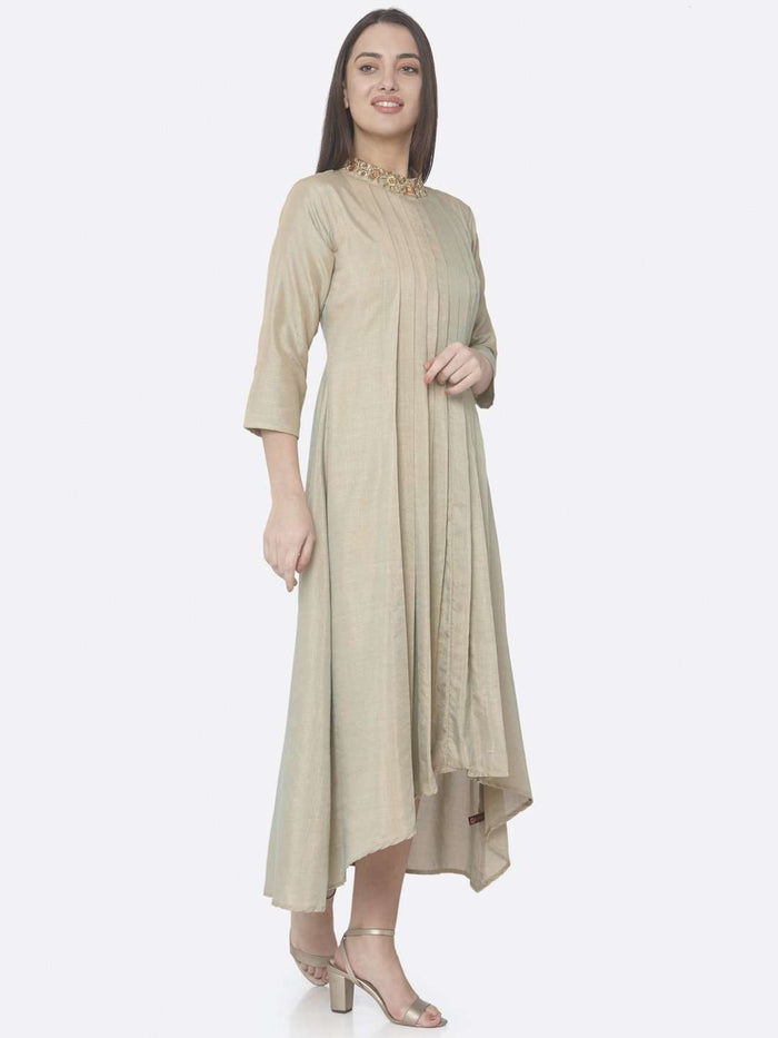 Right Side Beige Embroidered Muslin Silk A-Line Dress