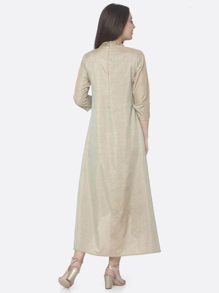Back Side Beige Embroidered Muslin Silk A-Line Dress