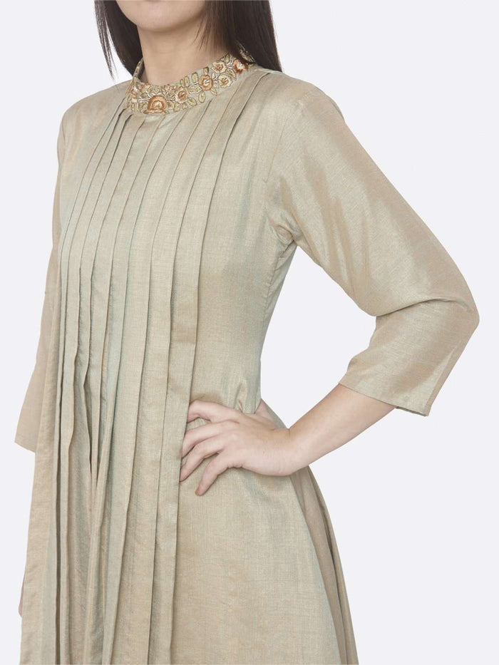 Left Side Embroidered Muslin Silk A-Line Dress With Beige Color